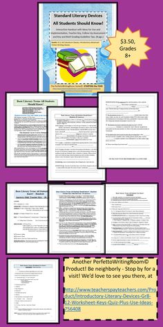 Literary Devices all students should Know! Whether you teach 8th grade or 12th, use this handy two part system as an introduction, OR as a review! With teacher keys, plus great ideas for implementation to keep this product fresh for years to come. plot, setting, mood, point of view, and much more.