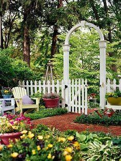 white picket fences, tiny gardens, arbors, interior garden, garden gates, arches, glass, vegetables garden, classic white