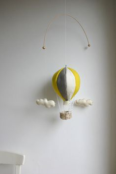 gray yellow mobile, felt hot air balloon, wool felt, mobile