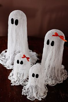 I've made cheesecloth ghosts before, but I love this shape and the bows! http://www.loveandlaundry.com/2012/09/floating-cheesecloth-ghost.html