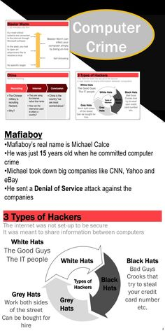 This PowerPoint presentation includes links to documentary videos about cyber crime that you can access online.  * Mafiaboy - a 15 year old boy who took down Yahoo and CNN * Newest types of computer viruses * Computer Crime Definitions * Cyber Warfare against countries - Estonia * How Hackers Stole $45 Million in Two Days * Microsoft and FBI take down global cyber crime ring
