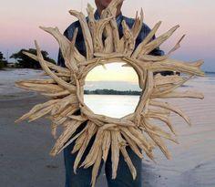 driftwood mirror, beaches, mirrors, wood projects, idea, driftwood furniture, driftwood craft, driftwood art, drift wood