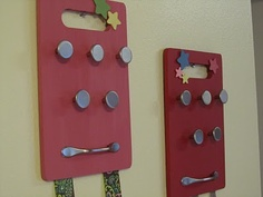 Old cutting boards as hair accessory/ jewelry holder
