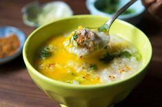 Thai Rice Soup With Pork-Cilantro Meatballs