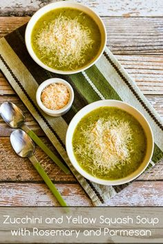 Zucchini and Yellow Squash Soup with Rosemary and Parmesan (Pressure Cooker or Stovetop). This is a perfect Meatless Monday soup to make while you still have zucchini! [from KalynsKitchen.com] #MeatlessMonday #Zucchini #PressureCooker