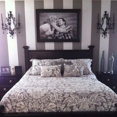 Ashley and Zak's grey and white Master bedroom.