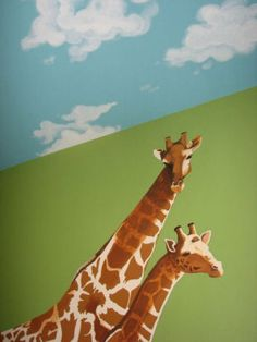 Jungle animal nursery wall mural with clouds and a momma and baby giraffe.