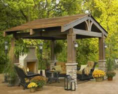 The Lodge This pergola has the natural, classic look of turn of the century lodges in the mountains of New England with it's split timber and curved beams. It's a beautiful, substantial way to add an additional outdoor room to the back yard. I love the stacked stone and the craftsman style lighting accompanying the lodge in the picture shown. Outdoor Living, Outdoor Rooms, Patio, Hous, Outdoor Fireplaces, Pergola, Backyard, Deck, Outdoor Spaces