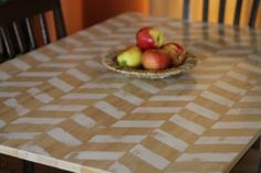 DIY Herringbone Table Makeover.. for a side table in our living room