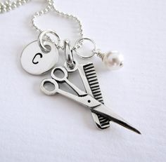 Cosmetology  Scissors and Comb Charm  by PatriciaAnnJewelry, $35.50