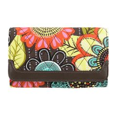 Sleek and Chic Wallet in Flower Shower with Brown Trim