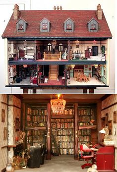 $ 82,000 English Doll House. Cool library. wow