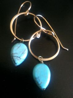 TS Design Single Turquoise Drop Earrings by 3tomatoes on Etsy, $40.00