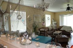 Beach bridal shower Décor over my bar. shower décor, shower idea, beach themes, bridal showers, beach bridal shower