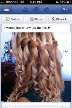 curly hair waterfall braid!