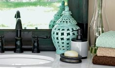 Black and white is my laundrey room... splashes of this aqua would be super cute!