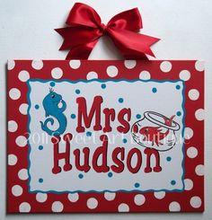 Cute teacher gift idea! $39 --  Big Red White Polka Dots Seuss Custom canvas letter name sign wall art baby nursery red DR seuss cat hat horton one two fish teacher
