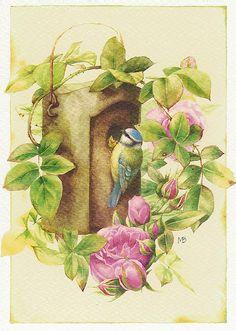 birdhous, artists, pink flowers, marjolien bastin, artmarjolein bastin, bastin art, apples, postcard, birds