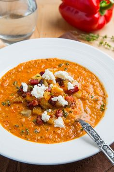 Creamy Roasted Red Pepper and Cauliflower Soup with Goat Cheese - this looks amazing! Have to try this one.