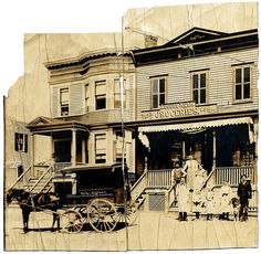 August & Marie Huth and Family and Store, Rowland Street, Westchester Square, The Bronx, New York City, about 1900