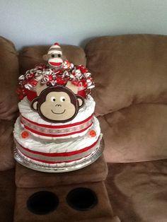 Baby diaper cake...... Sock monkey :)