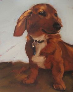 Weiner Dog pet portrait oil painting Hoeptner, painting by artist Diane Hoeptner