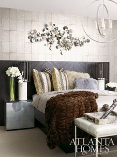 Fur for the bed michel boyd, headboard, table lamps, benches, beds, guest bedrooms, bedroom walls, bedroom decorating ideas, fur