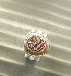Fordite Sterling Ring Size 8 Wide. Sizing is by jamesblanchard, $165.00