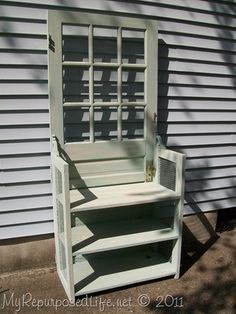 door repurposed into bookshelf