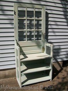 Door into a nightstand/bookshelf window, vintage wood, potting benches, shelv, hall trees, wooden doors, old doors, garden, wood doors