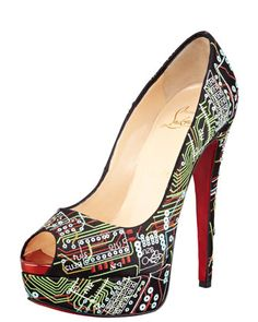 "#Scarpe ""#geek"" Christian #Louboutin - Lady Peep Geek Embroidered Red Sole Pump"