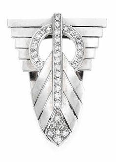 Art Deco Platinum  Diamond Clip  One round 35 single-cut diamonds, approx .55 ct., c. 1930.