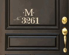 Monogram Door Decal with House Number by WelcomingWalls on Etsy