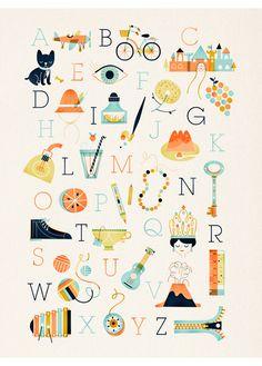 Sol Linero - retro abc alphabet poster art print - L'Affiche Moderne
