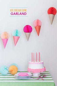 DIY:   Ice Cream Cone Garland