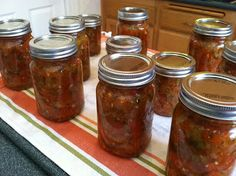 I love this salsa recipe!  We made it a little spicier last time and it is fantastic.  Just leave some of the pepper seed in the mix.  Yum!