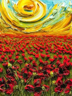 justin gaffrey, artists, oil paintings, color, red flowers, poppies, the artist, flower fields, sun