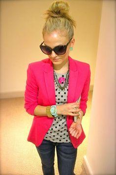 pink blazer & polka dots