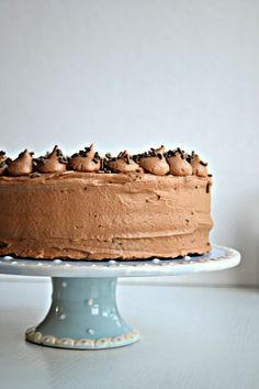 Super Moist Chocolate Cake Topped with Light and Fluffy Whipped Mocha Frosting from @Bakeaholic Mama Mama Mama