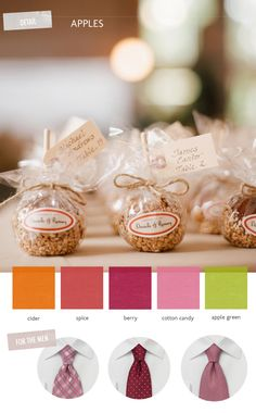 color scheme and groomsmens' ties inspired by candy coated apples! photo by RayaPhotography.com