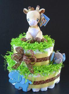 Safari Giraffe and Elephant Unisex Diaper Cake