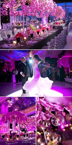 Luxury Modern Glamorous Wedding in New York - Pink and Silver with Orchid Centerpieces
