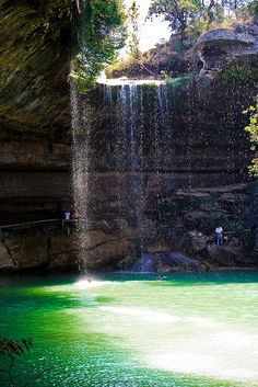The Hamilton Pool, Austin, Texas, USA The natural pool and creek are not chemically treated, so water quality is monitored regularly and swimming is occasionally restricted. Hamilton Pool is a protected environment.