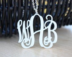 Acrylic Monogram Necklace  Personalized by FrederickEngraving, $21.00