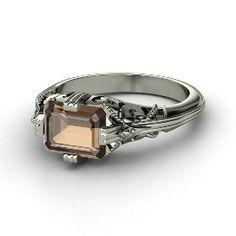 Acadia Ring, Emerald-Cut Smoky Quartz Sterling Silver Ring from Gemvara