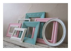 Frame grouping  - I would do robin's egg and gold or Robin's egg and white.  Or you could do Black, White, and Robin's Egg or the pink if you're feeling adventurous.