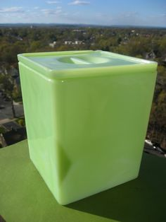 Jadite Glass Square Canister by Jeanette