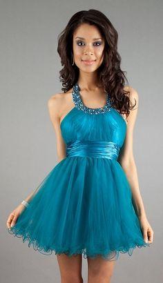 Teal Halter Prom Dress Short Tulle Poofy A Line Skirt Scoop Neck $126.99