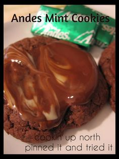 cookin' up north: Andes mint cookies...devils food cake mix, oil, eggs, Andes mints