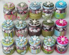 How cute are these? Used old candle jars, baby food jars or whatever you have. Decorate and fill with goodies. Adorable gifts!